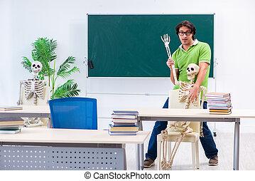 osztályterem, furcsa, hím, csontváz, diák