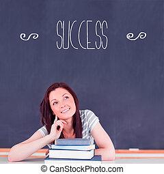 osztályterem, gondolkodó, ellen, siker, diák