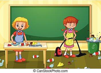 osztályterem, hajadon, takarítás, koszos