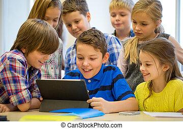 osztályterem, iskola ugrat, csoport, tabletta pc