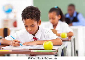 osztályterem, izbogis, diákok, alapvető