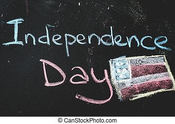 osztályterem, us...independence, lobogó, fekete, chalkboard, nap