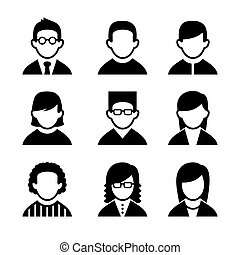osztályvezető, ikonok, műsorszerkesztők, set., vektor, felhasználó