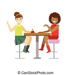 osztozás, beszélgető, desszert, girlfriends, torta, személy, vektor, ábra, kellemes, mosolygós, kávéház, birtoklás, cukrászsütemény