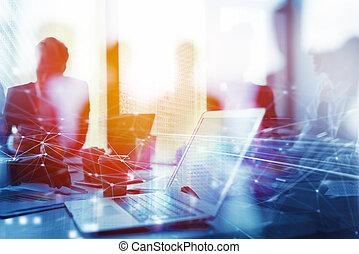 osztozás, megkettőz, laptop., interconnection., fogalom, ...