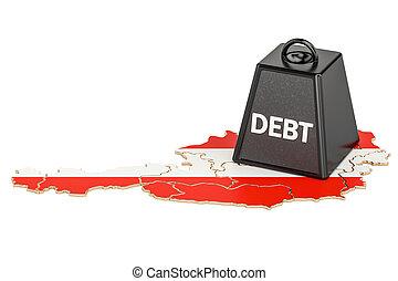 osztrák, nemzeti, adósság, vagy, költségvetés, hiány, anyagi, krízis, fogalom, 3, vakolás