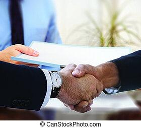 otřes, meeting., dohotovení, národ povolání, up, ruce