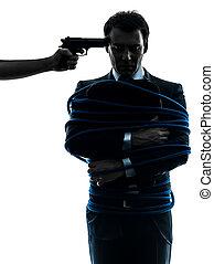 otage, captif, silhouette, homme affaires
