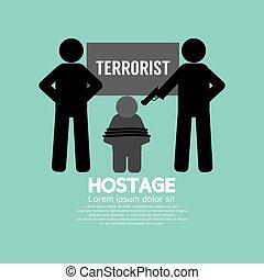 otage, concept, vecteur, illustration