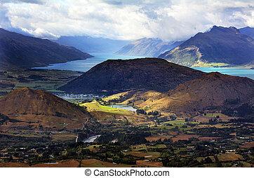 Landscape of Kawarau River valley and Lake Wakatipu in Otago, New Zealand.