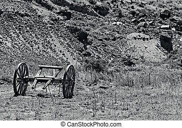 OTAGO, NZ - JAN 17:An old wagon in Goldfields Mining Centre on Jan 17 2014, historic reserve protected by NZ Department of Conservation, depict the lifestyle of Otago's early goldminers.(BW)