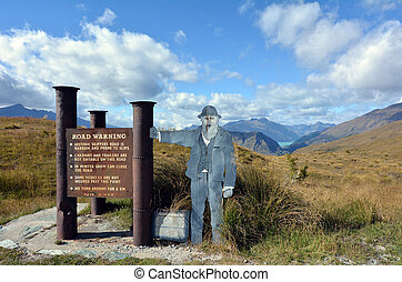 OTAGO, NZ - JAN 17:Skippers Road sign on Jan 17 2014.Skippers Road protected by the New Zealand Historic Places Trust since 15 December 2006 under the register number 7684.