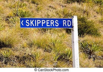 Otago - New Zealand - OTAGO, NZ - JAN 17:Skippers Road sign...