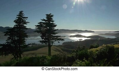 Otago Peninsula - Pan right. - Dunedin, New Zealand. View...