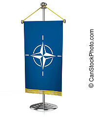 otan, 3d, escrivaninha, bandeira, isolado