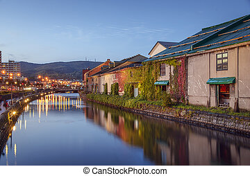 Otaru, Hokkaido, Japan at the historic warehouses and canal.