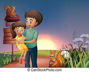 otec, carrying, jeho, dcera, hilltop