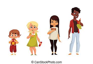 Other children eat different food, comic cartoon...