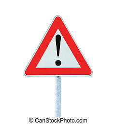 Other Danger Ahead Warning Road Sign With Pole isolated