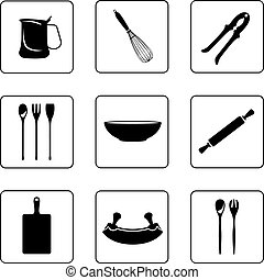 Other kitchenware - Kitchenware objects black and white ...