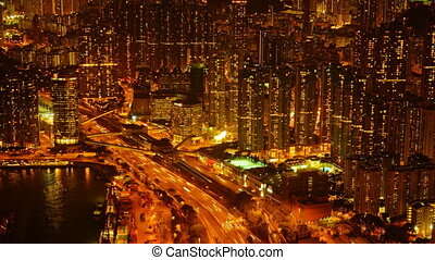Otherworldly Abstract of Dramatically Lit Urban Traffic in Timelapse