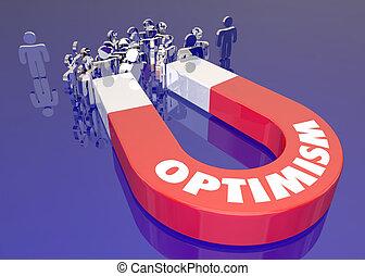 otimismo, ímã, atraindo, pessoas, palavra, 3d, ilustração