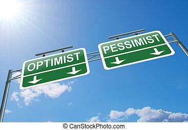 otimista, ou, pessimista, concept.