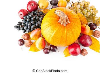 otoñal, fruits, con, permisos amarillos
