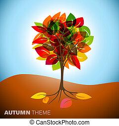 otoño, árbol, ilustración