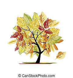 otoño, árbol, para, su, diseño
