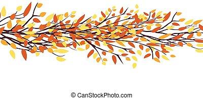 otoño, árbol., permisos de otoño, plano de fondo