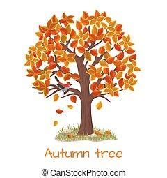 otoño, árbol, vector