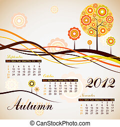otoño, 2012, calendario, vector, árbol