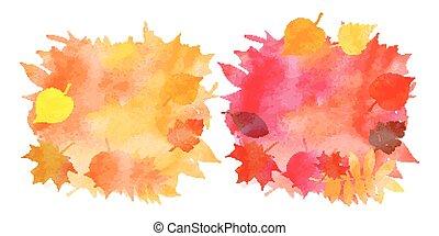 otoño, acuarela, hojas, conjunto, fondos