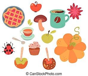 otoño, alimento, Conjunto, lindo