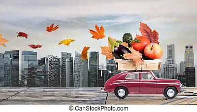 otoño, alimento, entrega