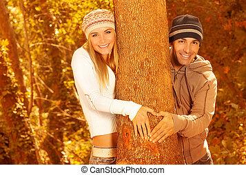 otoño, amantes, bosque, feliz