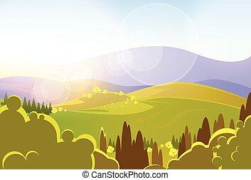 otoño, amarillo, montañas, árbol, valle, landcape, vector