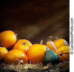 otoño, arte, acción de gracias, Plano de fondo, calabaza