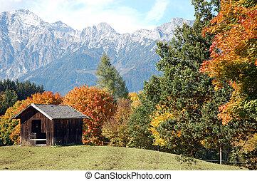 otoño, austríaco, montañas