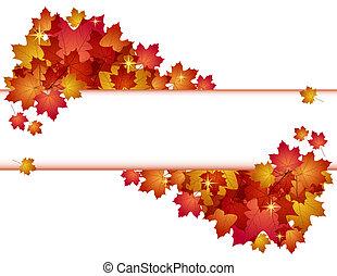 otoño, bandera, con, leaves.