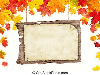 otoño, blanco, de madera, cartel