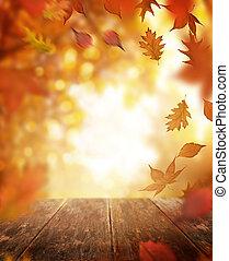 otoño, caer sale, y, tabla de madera