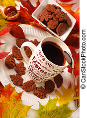 otoño, café, pasteles