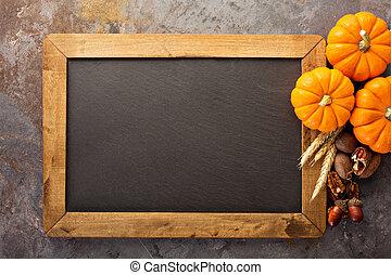 otoño, calabazas, copia, pizarra, espacio