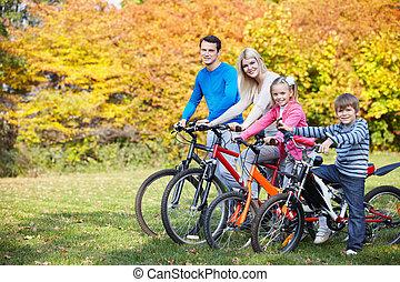 otoño, caminata, por, bicicleta