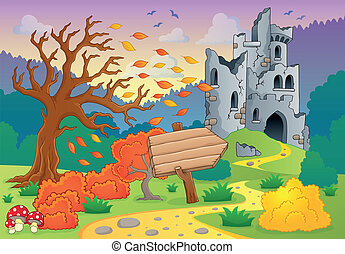 otoño, castillo, tema, ruinas, 4