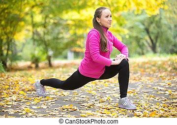 otoño, condición física, outdoors:, alto, estocada, ejercicios