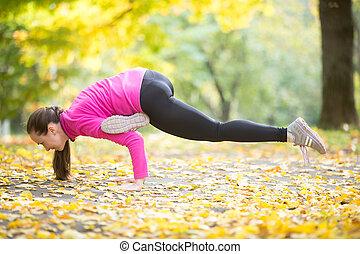 otoño, condición física, outdoors:, eka, pada, galavasana, postura