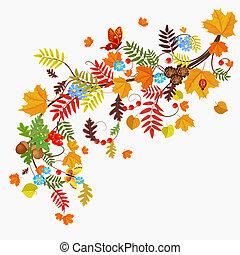 otoño, configuración el diseño, hoja, su